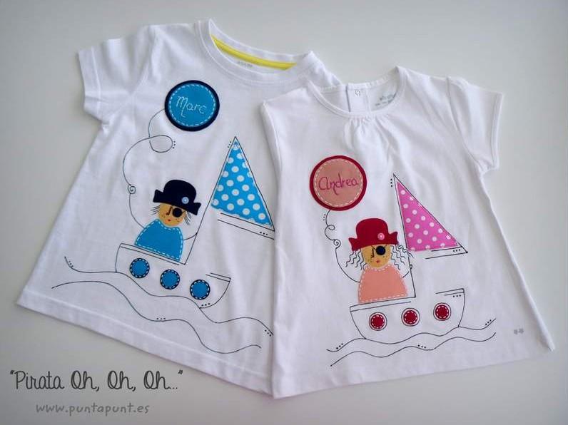 camiseta artesanal personalizada a mano pirata chico y pirata chica-003