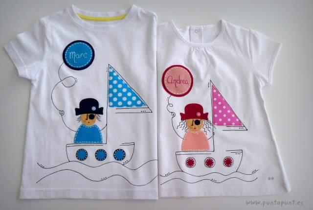 camiseta artesanal personalizada a mano pirata chico y pirata chica-004