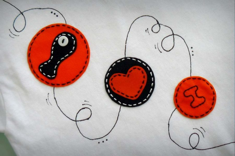 camiseta fieltro personalizada artesania hecho a mano penguin love 001