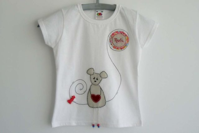 camiseta filetro personalizada artesania hecho a mano ratita presumida
