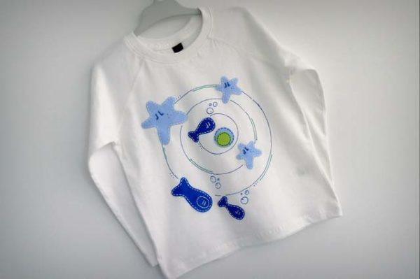 camiseta personalizada artesanal a mano remolino marino