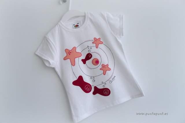 camiseta personalizada artesanal fieltro remolino marino rosa