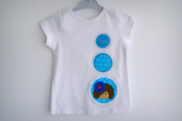 camiseta fieltro personalizada artesania hecho a mano pamela de tul