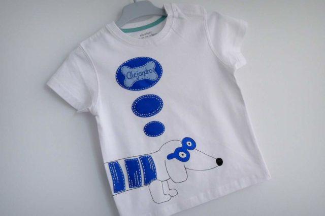 camiseta fieltro personalizada artesania hecho a mano perro salchicha