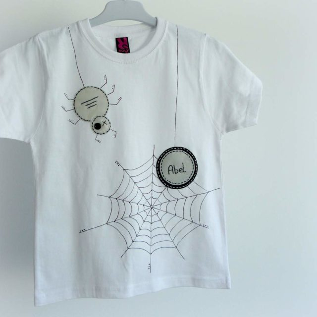 camiseta fieltro personalizada artesania hecho a mano spider 02