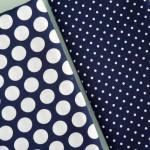 combinado topos azul marino blanco - pique