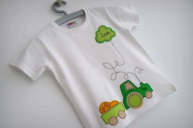 camiseta artesanal personalizada tractor verde punt a punt