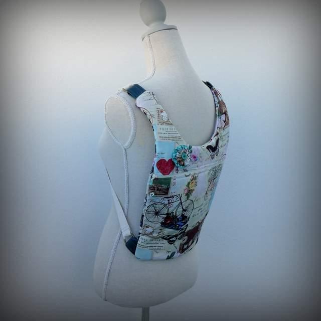 bolso mochila  modelo ergonomik de tela y simil piel de punt a punt-003