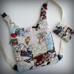 bolso mochila  modelo ergonomik de tela y simil piel de punt a punt-005