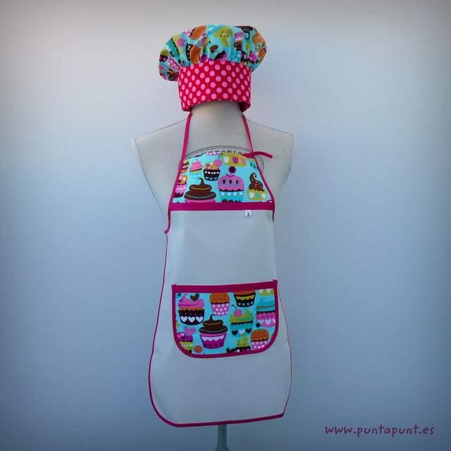 set infantil cocina cupcake gorro delantal-002