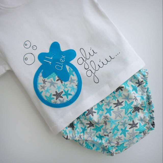 set camiseta personalizada y ranita bebe estrella azul punt a punt-001