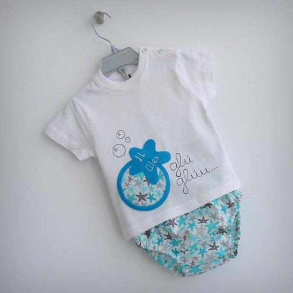 Set de camiseta y ranita bebé «Glu·Glu estrella»