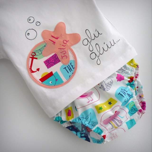 set camiseta personalizada y ranita bebe estrella sirenita rosa-001