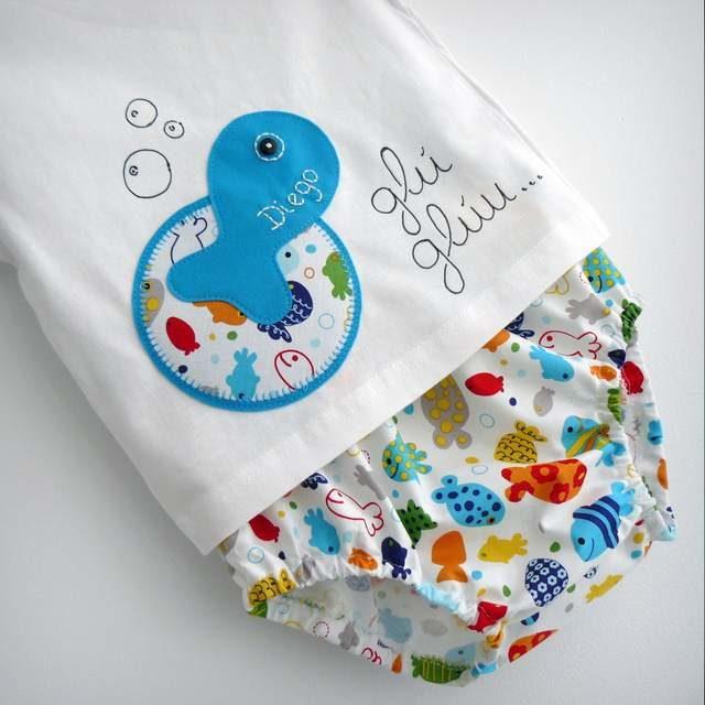 Set de camiseta y ranita bebé «Glu·Glu Pez»