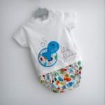 set camiseta personalizada y ranita bebe peces azul punt a punt
