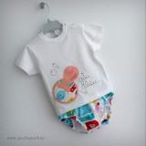 set camiseta personalizada y ranita bebe peces sirenita rosa punt a punt