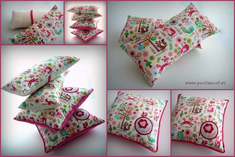 cojin y almohada personalizada para habitación infantil artesanal