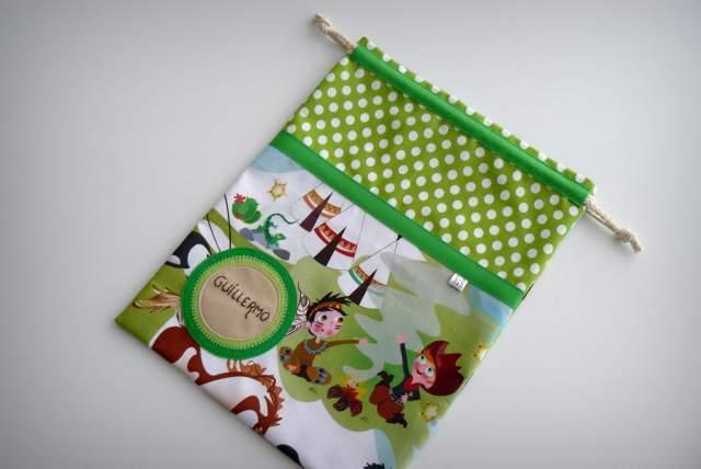 set bata escolar y saco infantil artesanal personalizado 002