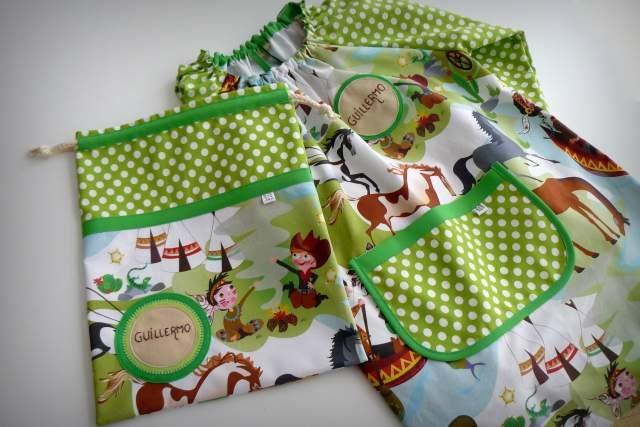 set bata escolar y saco infantil artesanal personalizado 003