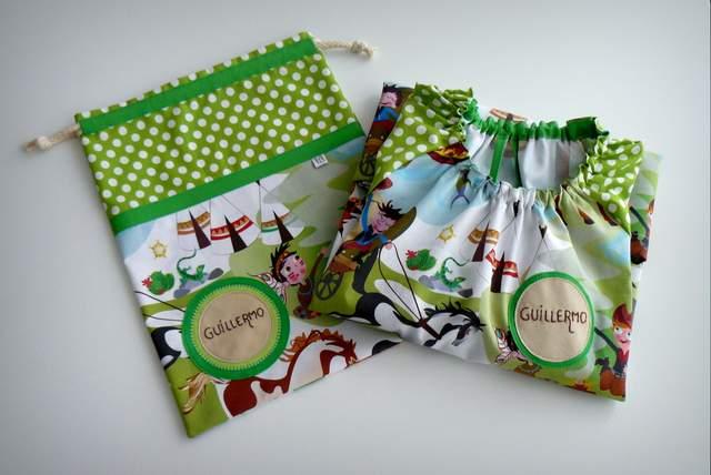 set bata escolar y saco infantil artesanal personalizado 004