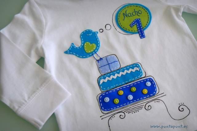 camiseta para aniversario infantil personalizada artesanal punt a punt-002