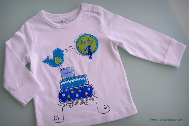 camiseta para aniversario infantil personalizada artesanal punt a punt