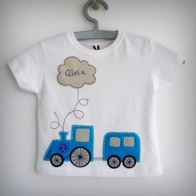 camiseta personalizada artesanal detalle tren vapor