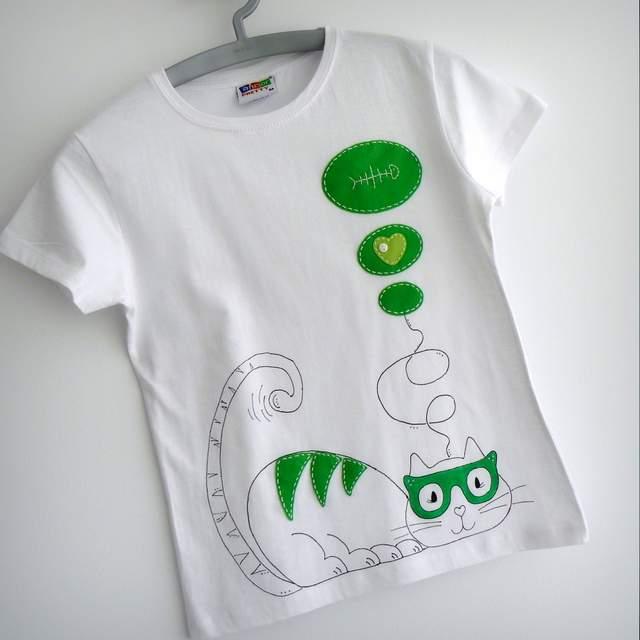 camiseta personalizada con gato artesanal fashion victim puntapunt
