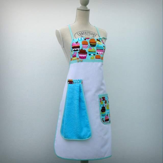 delantal de loneta personalizado artesanal con trapo de cocina-002