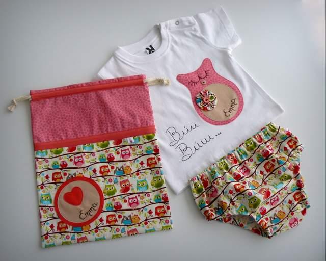 set de camiseta y ranita con saco infantil personalizado artesanal-003