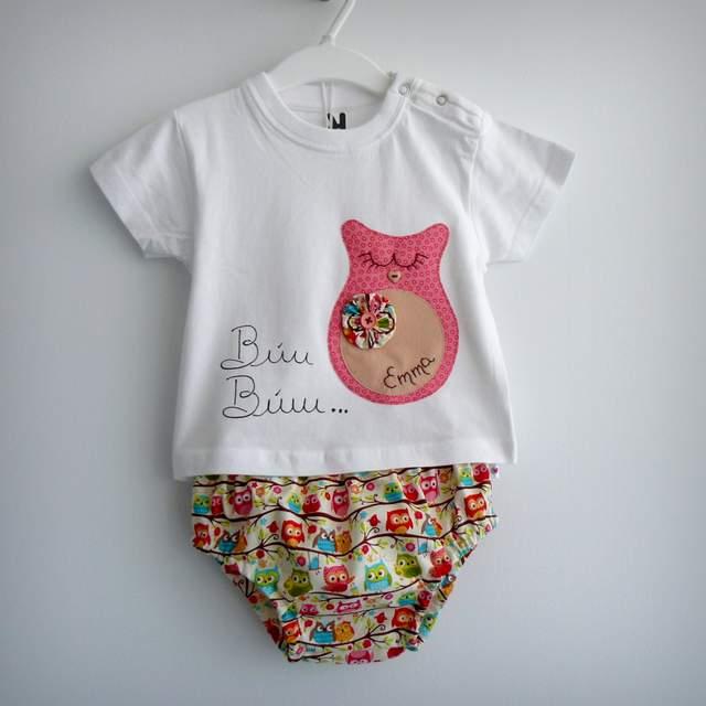 set de camiseta y ranita con saco infantil personalizado artesanal