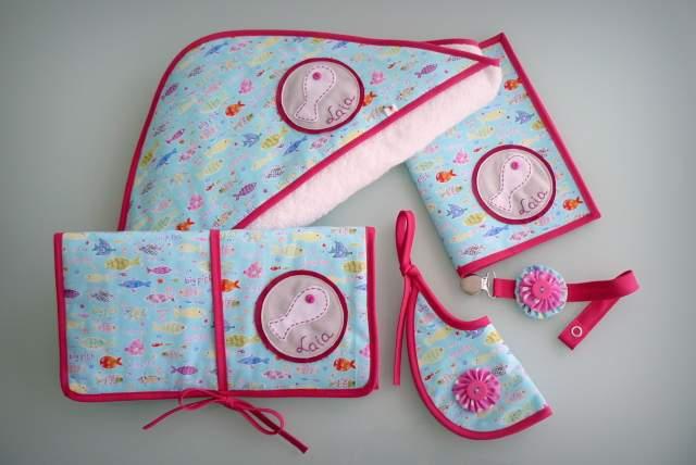 set para bebe con capa de bano ducha personalizado artesanal-001