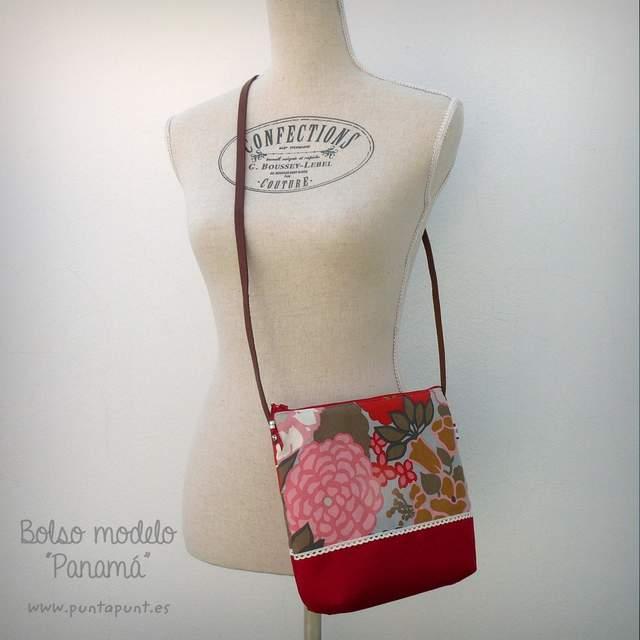 bolso bandolera artesanal modelo panama rojo punt a punt