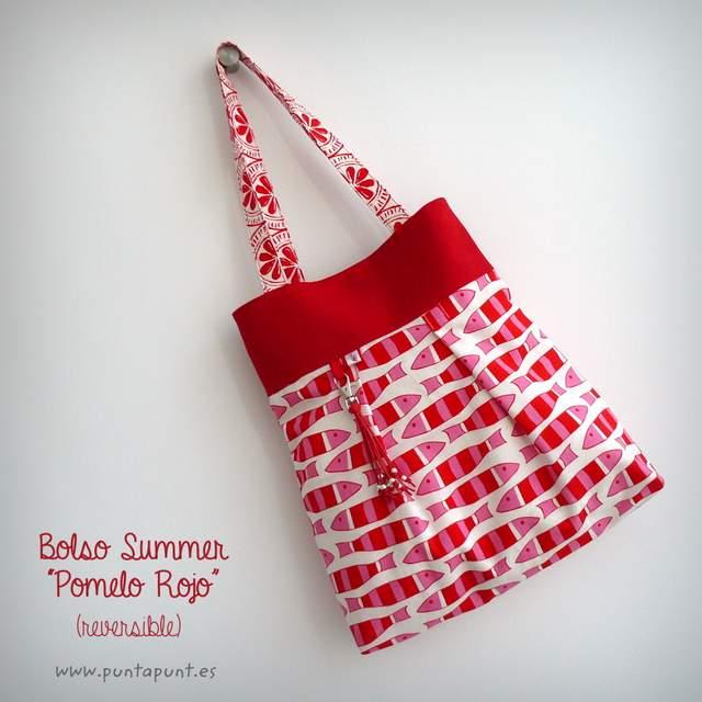 bolso reversible artesanal modelo summer pomelo rojo