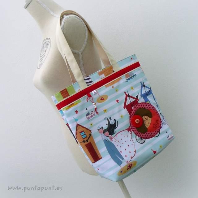 set bolso y toalla personalizado artesanal mar de luz punt a punt