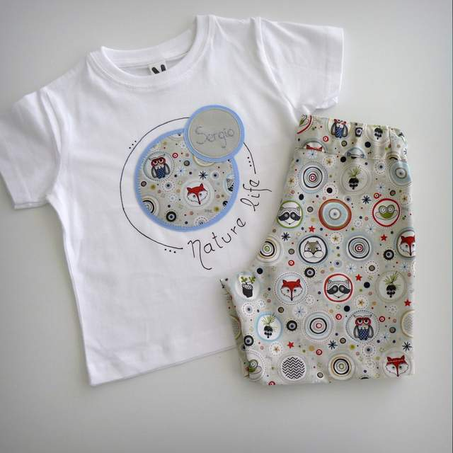 camiseta personalizada y pantalon infantil a juego nature life-005