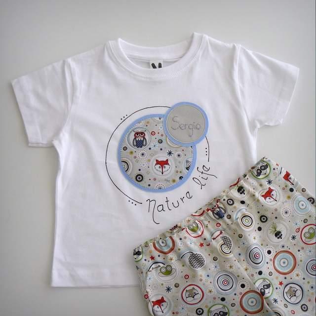 camiseta personalizada y pantalon infantil a juego nature life-006