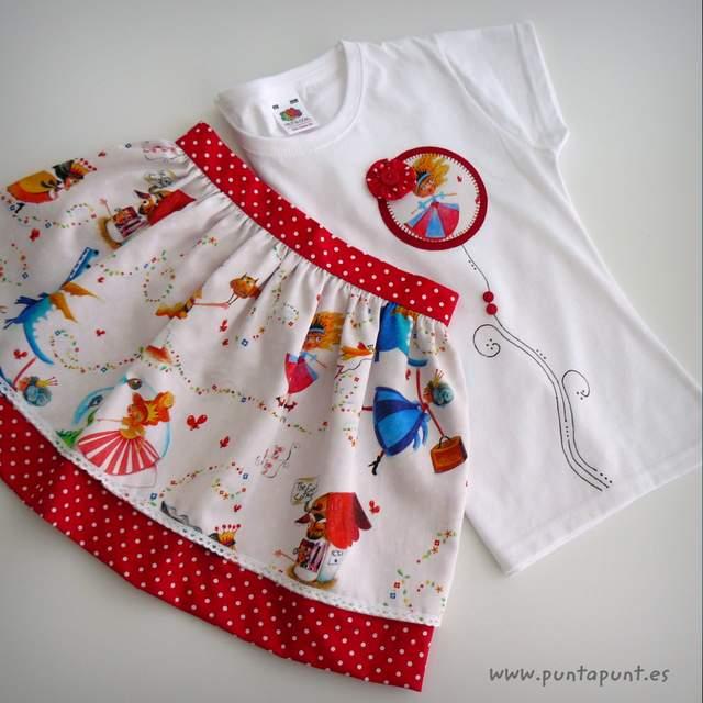 set falda y camiseta infantil personalizada bamba puntapunt-005