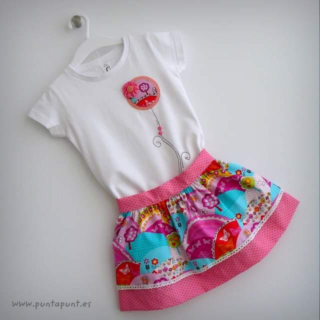 set falda y camiseta infantil personalizada bamba puntapunt