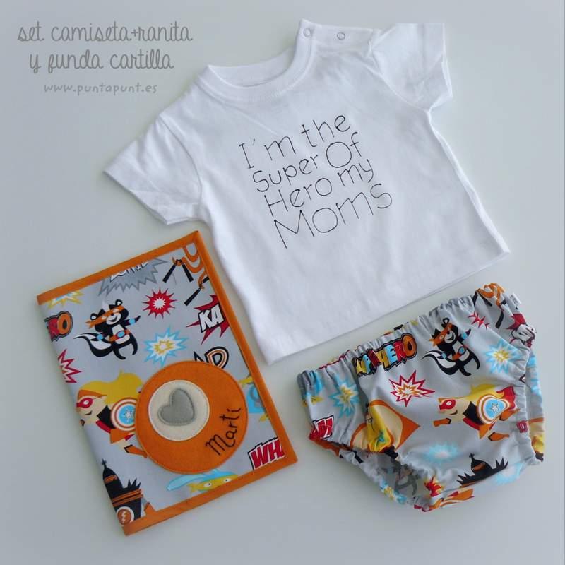 set camiseta y ranita personalizado super hero naranja punt a punt-007