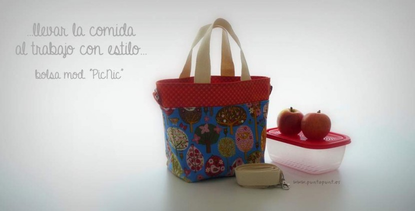 bolso cesta para llevar fiambrera comida picnic punt a punt-001
