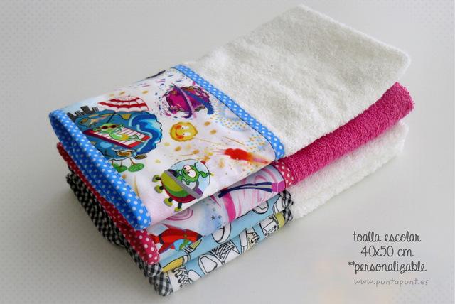 toalla escolar personalizada punt a punt