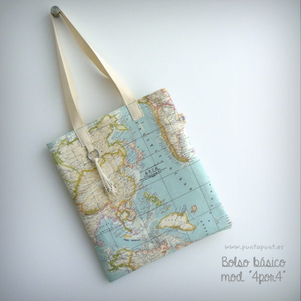 bolso artesanal basico 4x4 mapamundi punt a punt