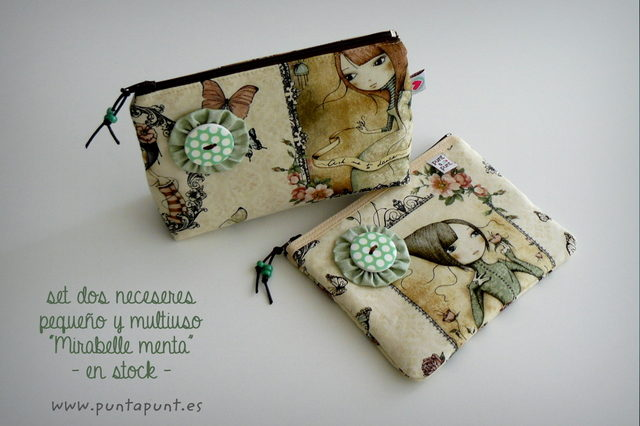 set dos neceser artesanal mirabelle menta punt a punt-002