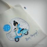 bolsa cotton bicolor bon voyage azul punt a punt