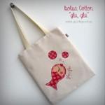 bolsa cotton bicolor glu glu rojo punt a punt