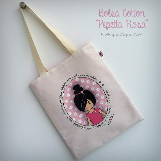 bolsa multiusos cotton pepetta rosa punt a punt
