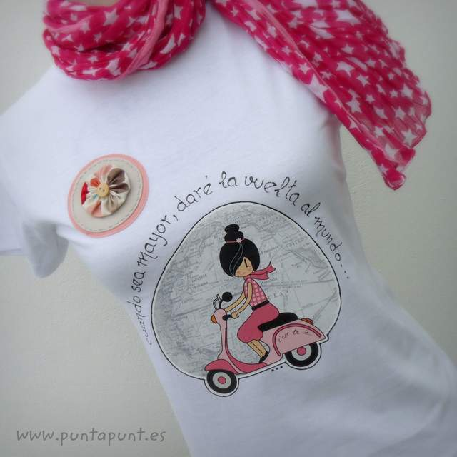 camiseta artesanal la vuelta al mundo rosa punt a punt-001
