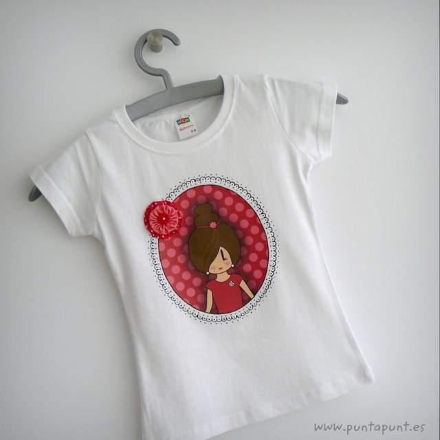 camiseta artesanal y bolsa cotton pepetta fresa punt a punt