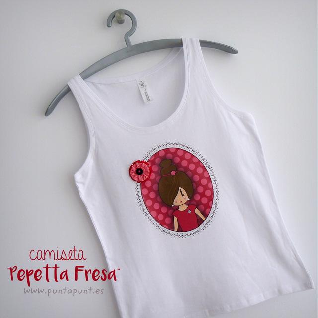 camiseta de tirantes blanca con pepetta fresa punt a punt